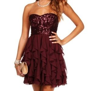 Windsor Beautiful Burgundy Sequin Homecoming Dress
